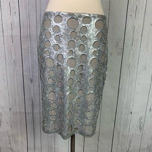isda & co | silver sequin print pencil skirt